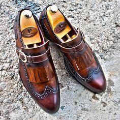 goodyear welted kiltie monkstraps  men's luxury footwear