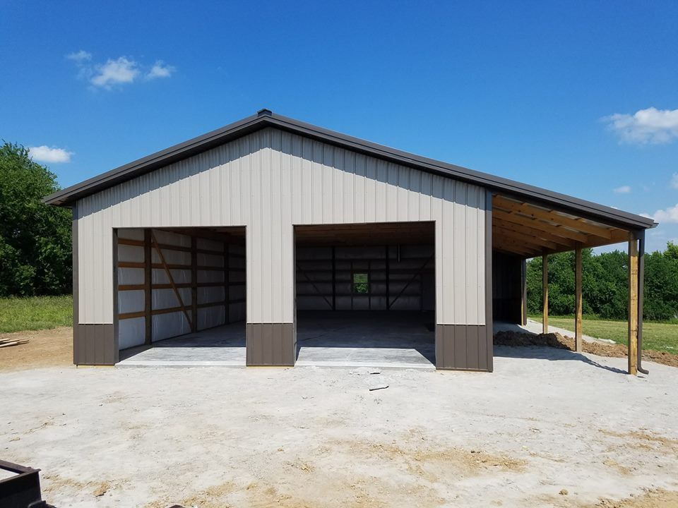 30′ x 60′ Garage in Grain Valley With A 12′ Lean-to | Oldham Construction LLC #polebarngarage