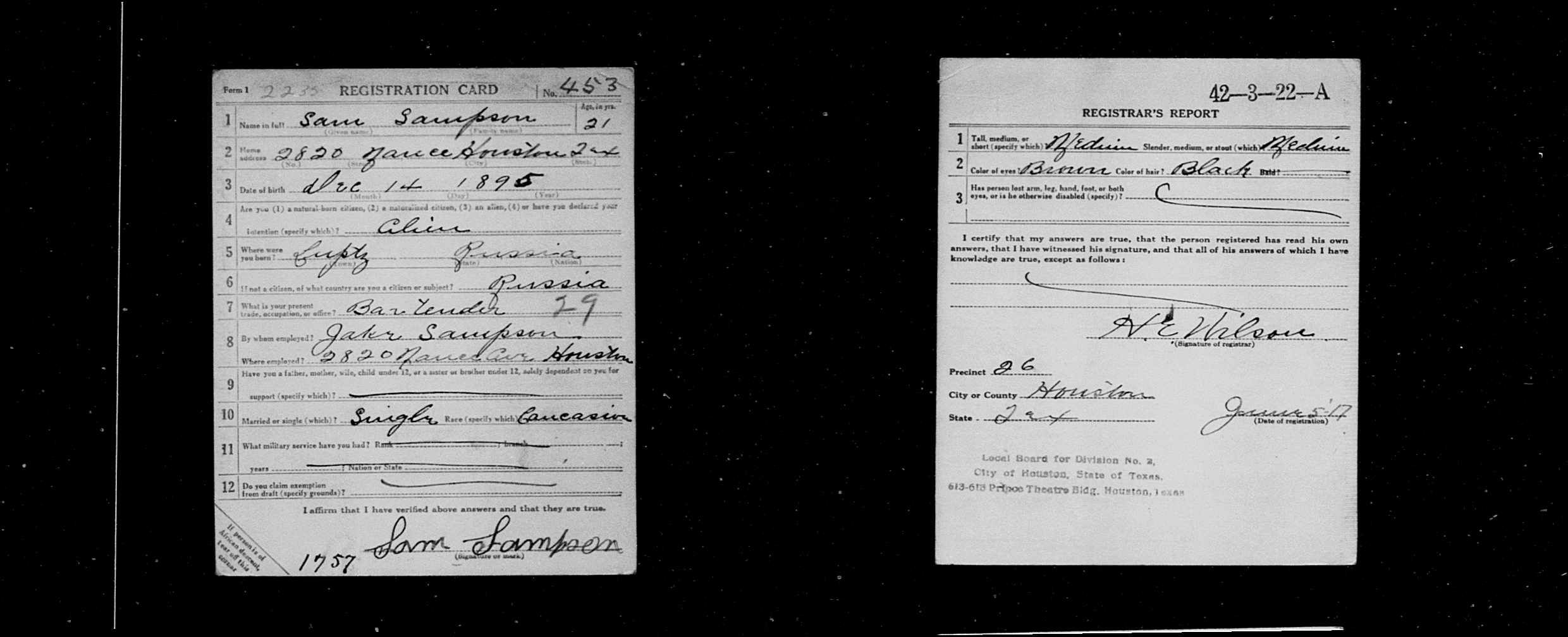 Sam Sampson United States World War I Draft Registration