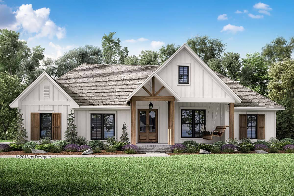Photo of Plan 51796HZ: Country Craftsman House Plan with Split Bedroom Layout