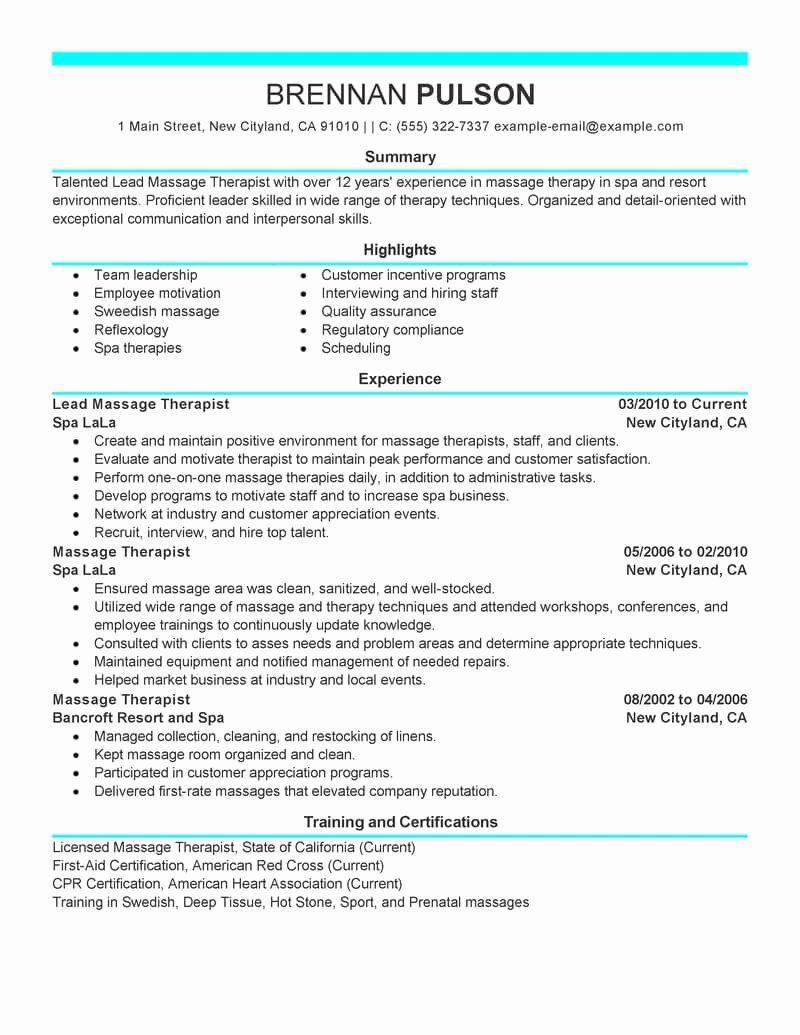 Massage Therapist Resume Examples Fresh Best Lead Massage Therapist Resume Example Resume Examples Sample Resume Cover Letter Cover Letter For Resume