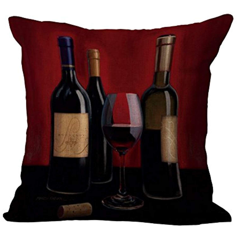 Yjbear Elegant Red Wine Cup Bottle Print Pattern Linen Decorative Throw Cushion Burlap Decorative Pill Wine Throw Pillows Decorative Pillow Cases Red Wine Cups