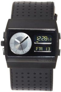 Vestal Unisex MCW026 Monte Carlo Ion Plated Black Leather Digital Watch Vestal. $88.69. Water-resistant to 165 feet (50 M). Large, oversized black IP case with hardened mineral crystal. So technical James Bond could wear it. Digital and analog movement. Gold digital display with time, calendar and alarm function. Save 41% Off!