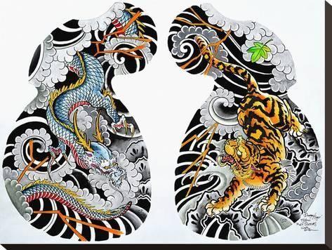 'Dragon Tiger Tattoo Half Sleeve' Stretched Canvas Print - Clark North | Art.com