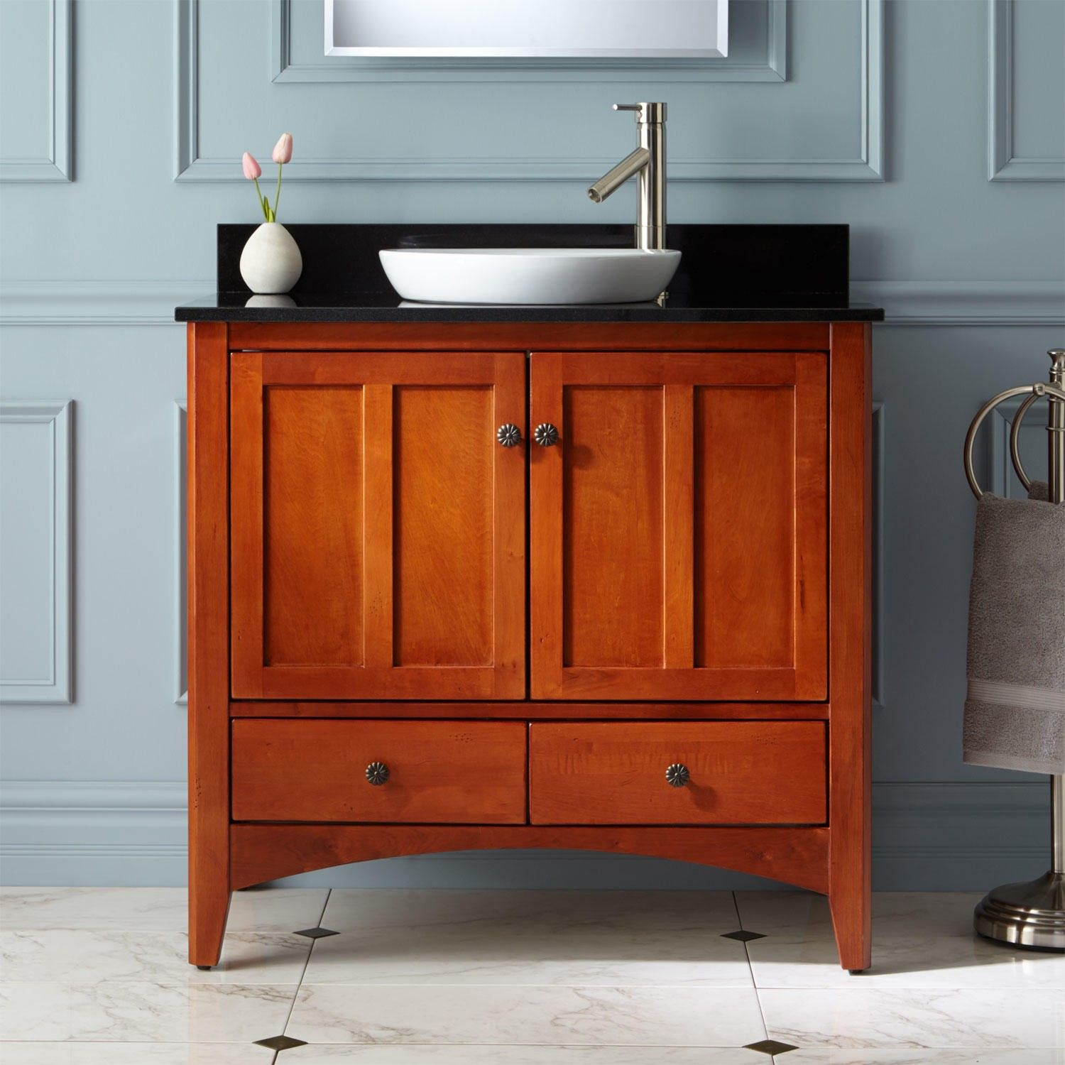 "36"" Ibarra Vanity For Semirecessed Sink  Cherry  Vanities Alluring Cherry Bathroom Vanity Design Inspiration"
