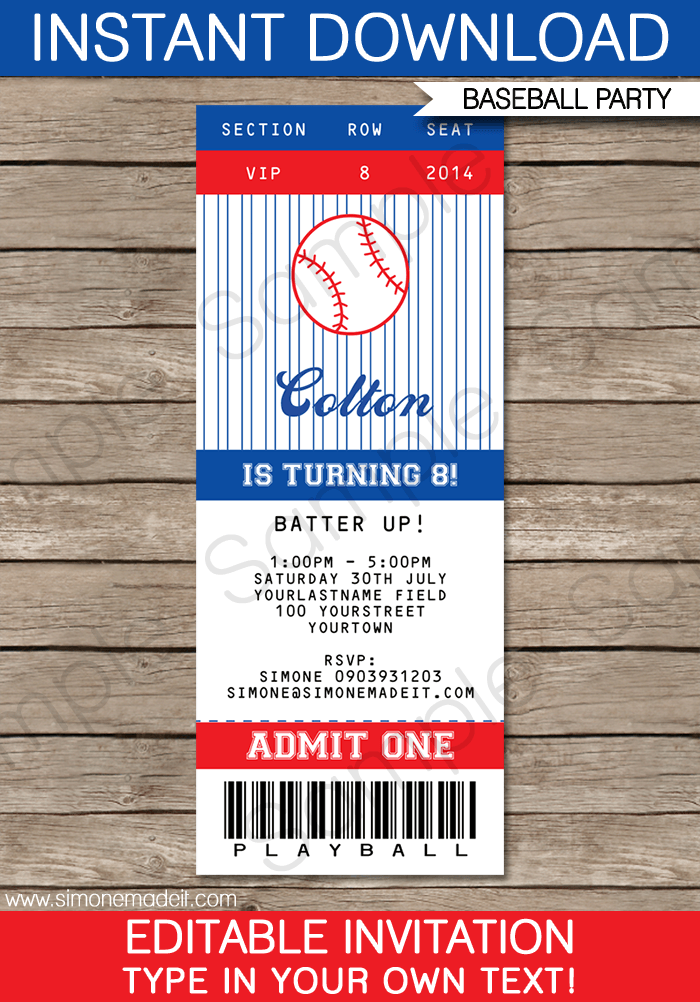 baseball ticket invitation template crafts gifts pinterest