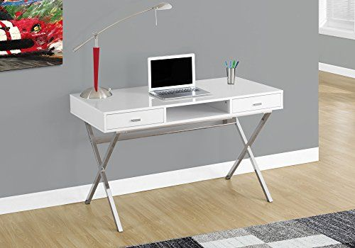 Monarch I 7211 Chrome Metal Computer Desk, 48u2033, Glossy White