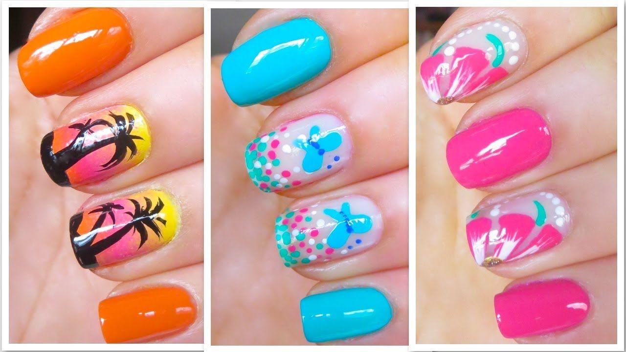 Cute Summer Nail Art Designs Easy Tutorial Youtube Cutesiclicle