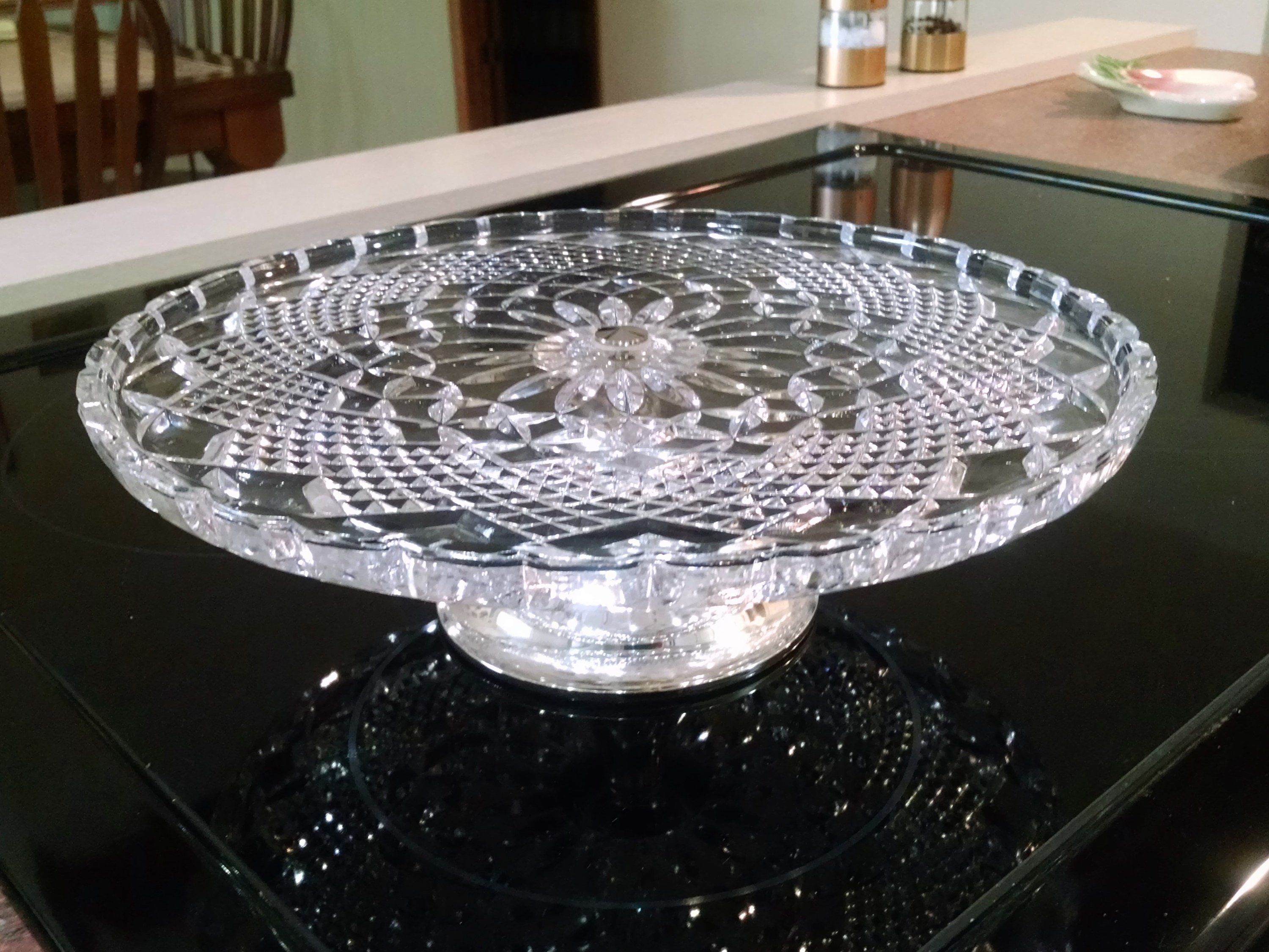 Crystal cut glass cake stand with silver pedestal base western