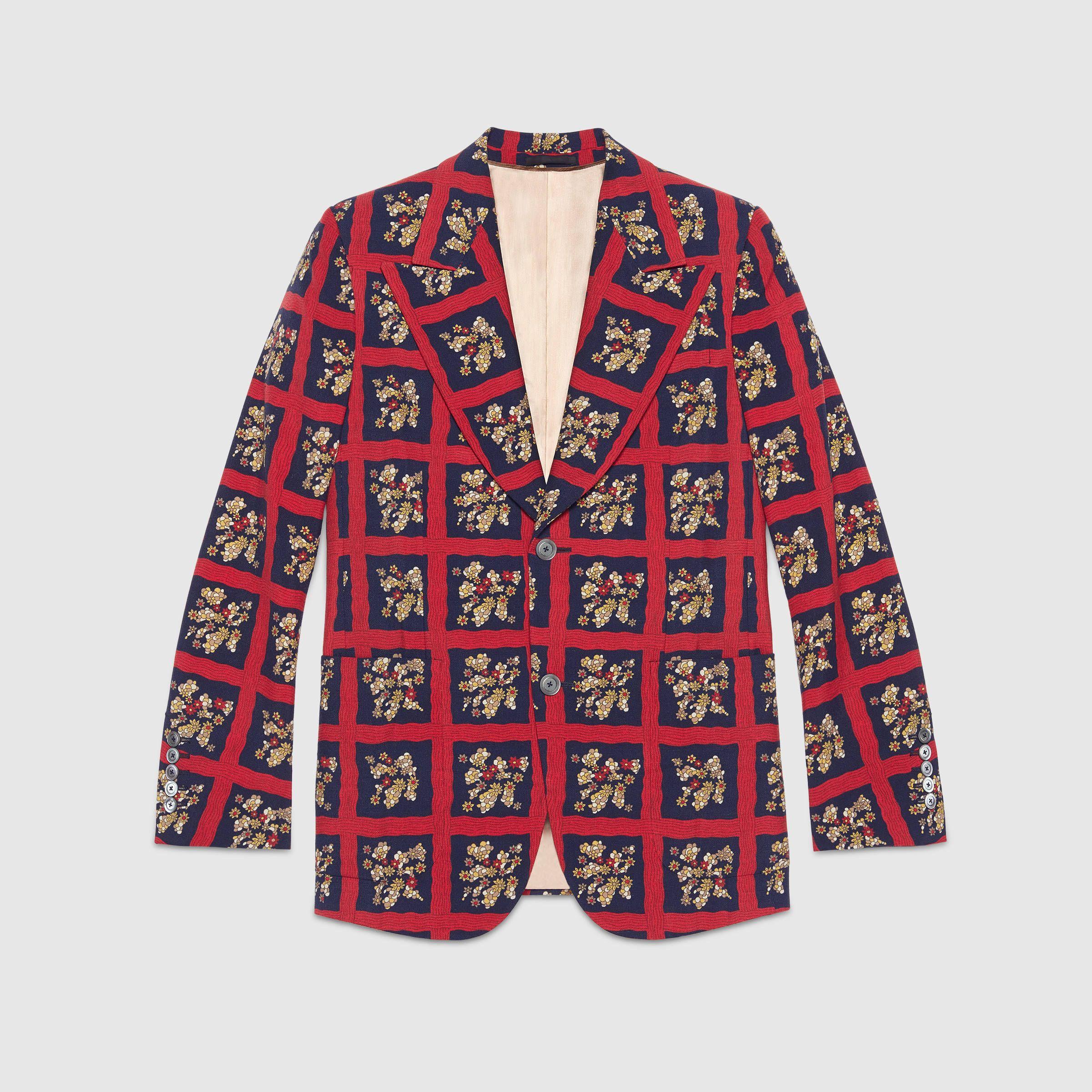 Gucci Heritage Floral Check Print Jacket [ 2400 x 2400 Pixel ]