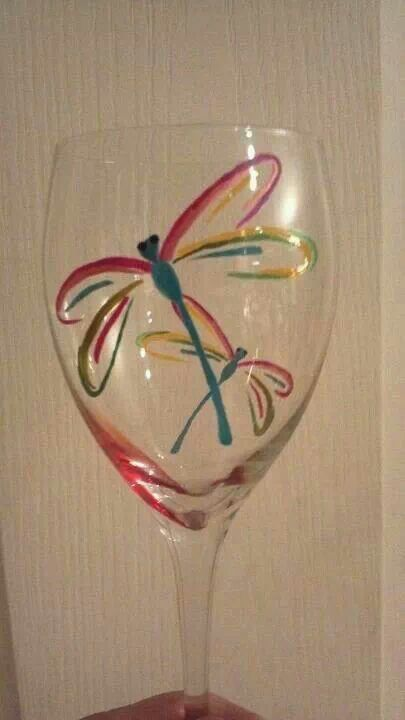 Dragonflies The Glass Girl Pinterest Glass Wine And Painted