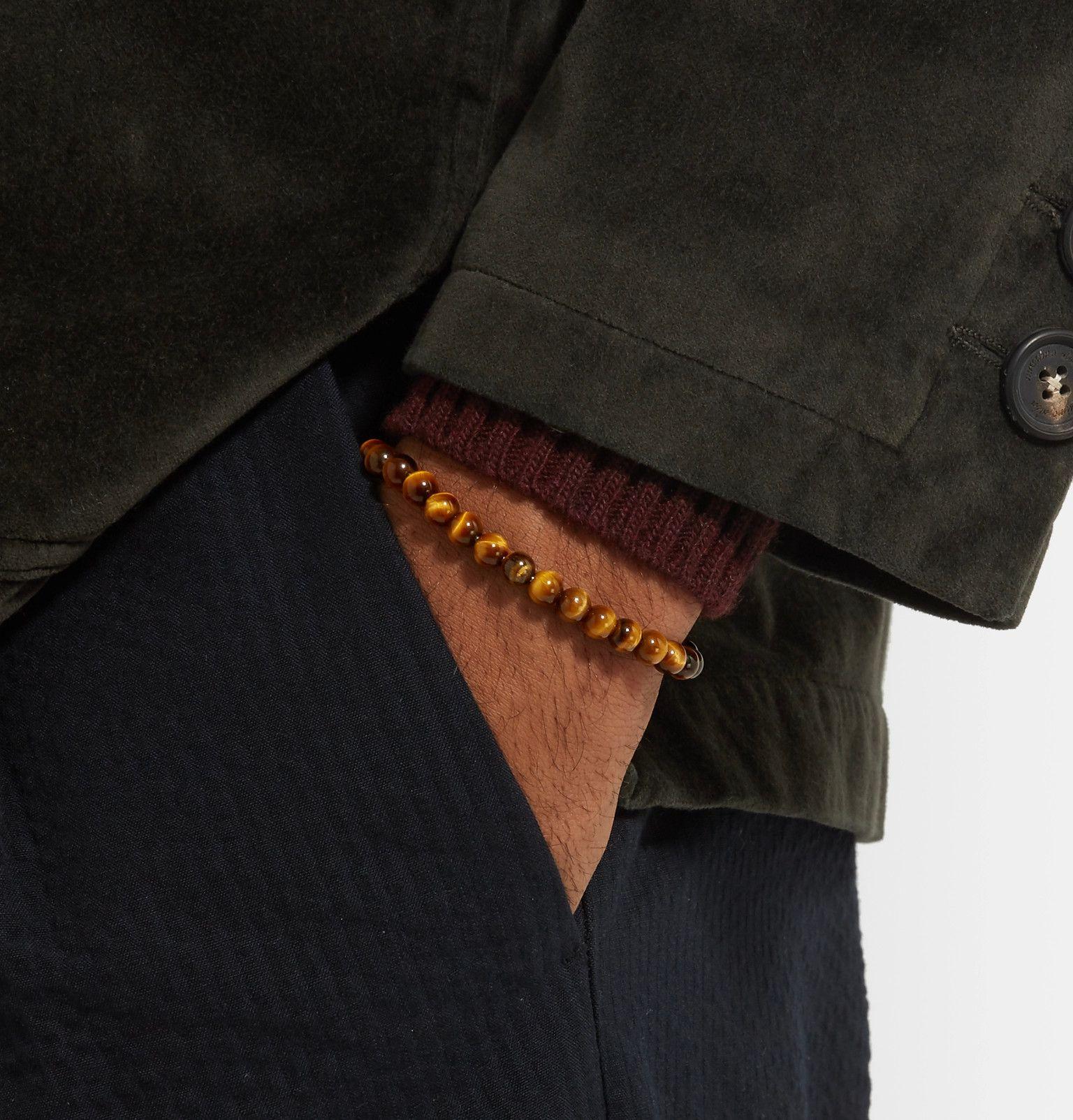 Bottega Veneta Tigers Eye Bead And Oxidised Silver Bracelet - Brown 0B0dbyha