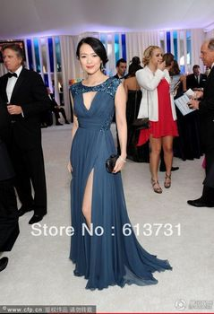 Sexy Navy Blue A-line Scoop Chiffon Front Slit Sequined Hollywood Celebrity Dresses Formal Evening Gown B01192