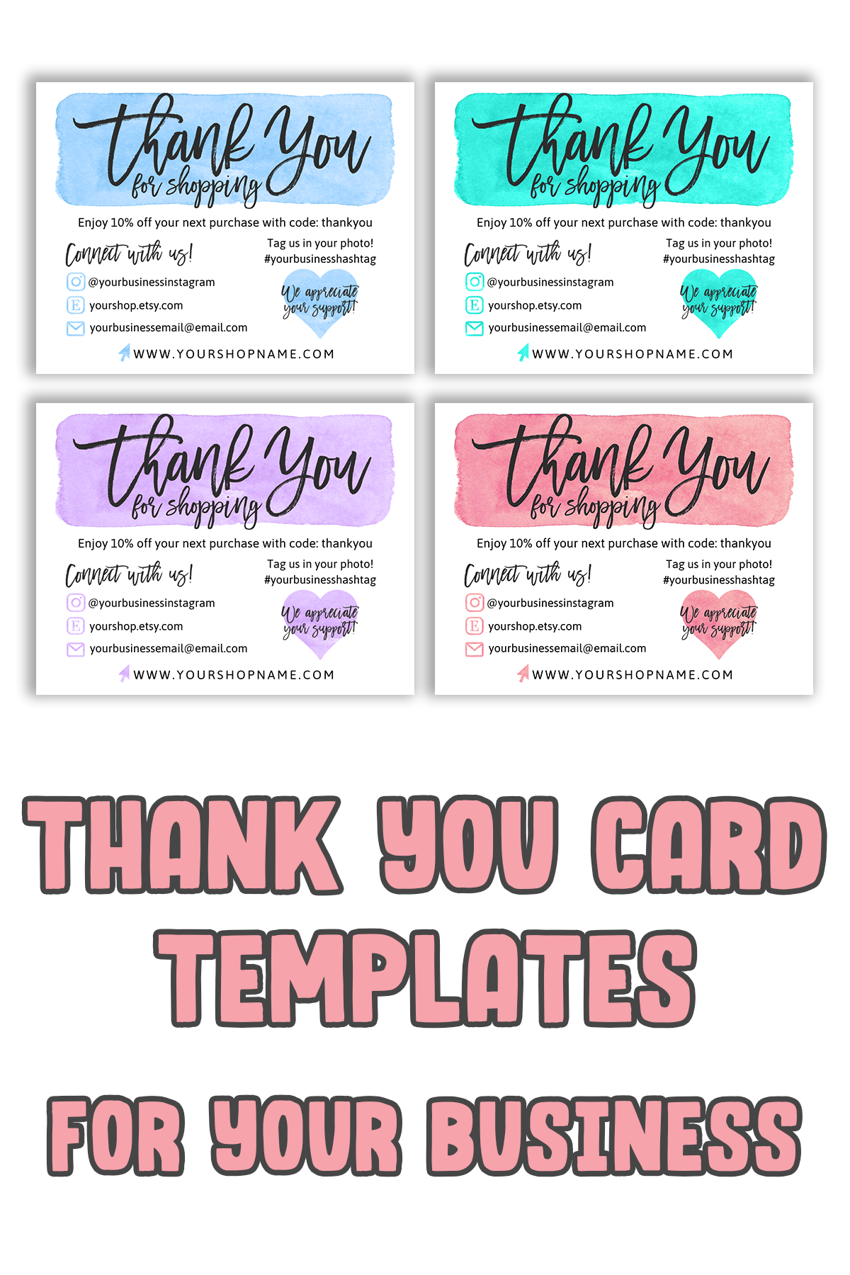 DIY Printable Thank You Card for Your Order Purple Small