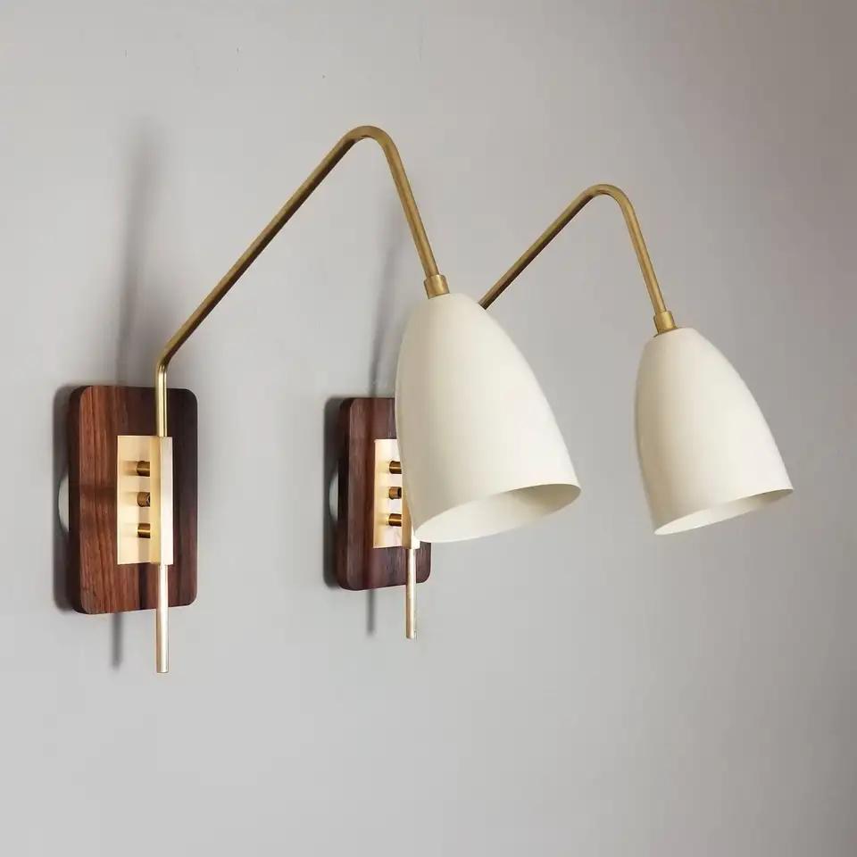 'Elska' Wall Mount Reading Lamp in Walnut, Brass and