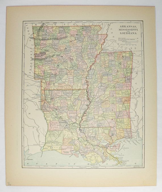 Arkansas And Louisiana Map.Old Louisiana Map Arkansas Mississippi Map Ar 1896 Gulf Coast Map