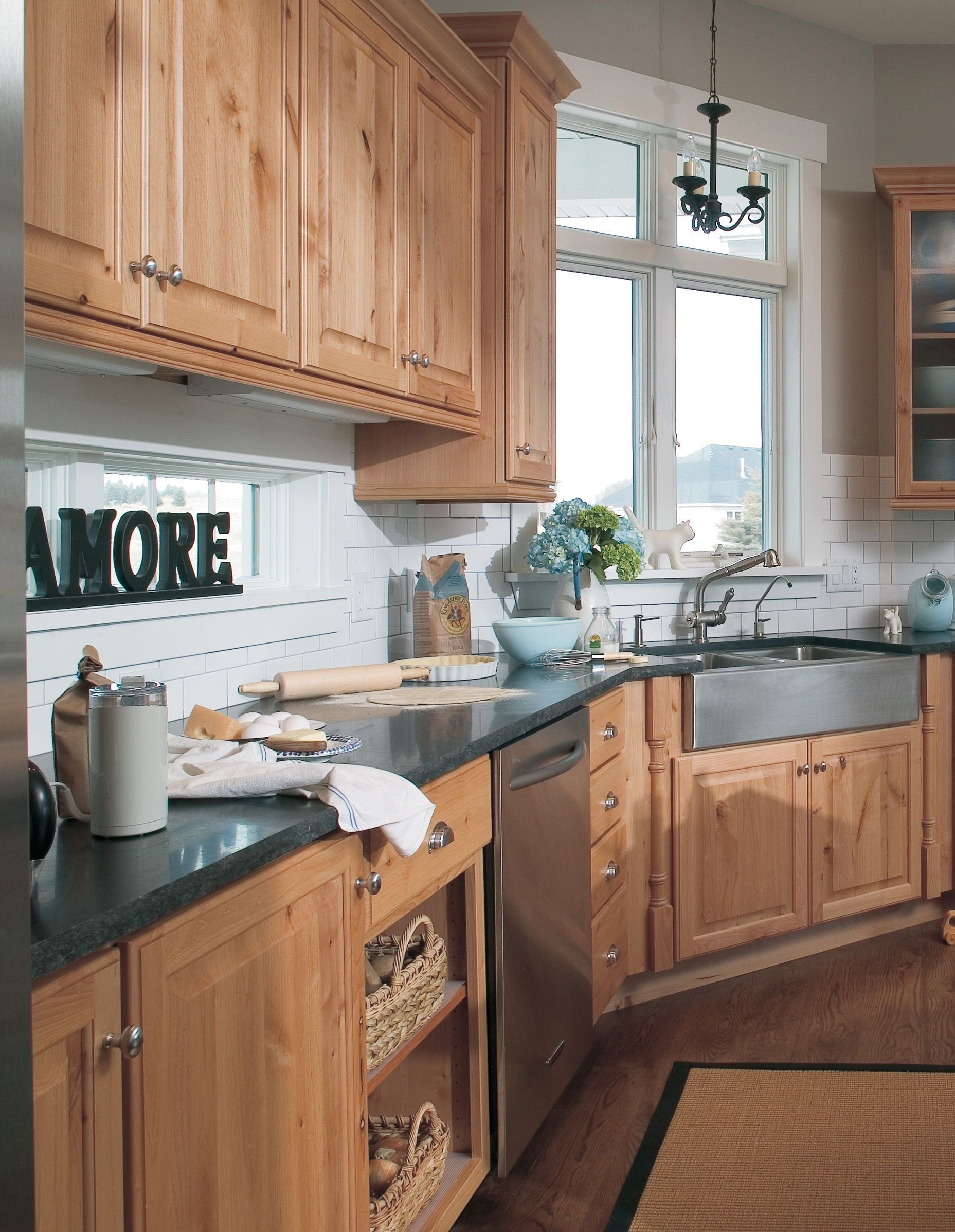 not all country styled kitchens are painted white this farmhouse styled kitche kitchen on kitchen cabinets not white id=99138