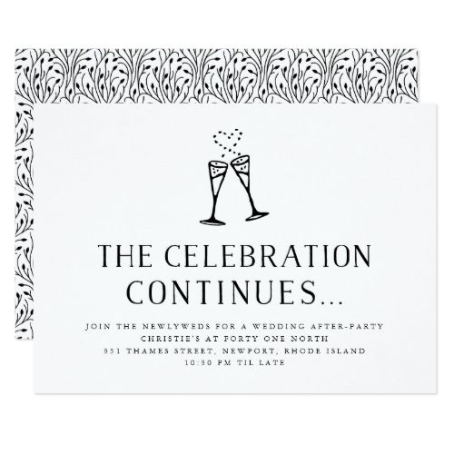 wedding after party invitation insert card black and white wedding