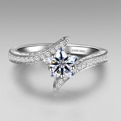 White Star Shape Lab Created Diamond Women S Engagement Ring Promise