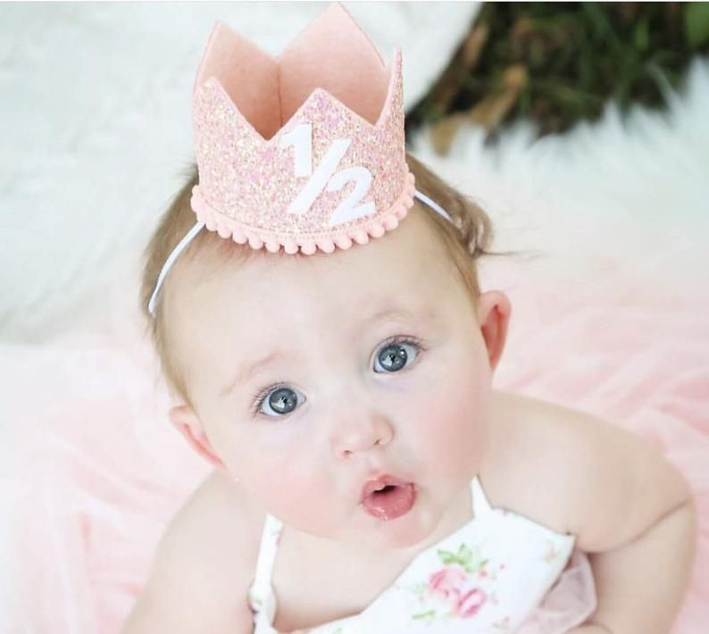 Cake smash photo prop. silver and pink baby crown half Birthday Hat 12 Birthday flower crown headband white