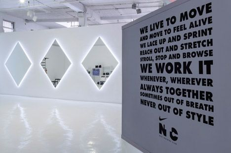 """Nike pop-up by Storey Studio """"I think the installation was really intriguing and playful because of the symmetrical doorways and immersive lighting so made the viewer want to explore both the collection and the space,"""" Storey said."""