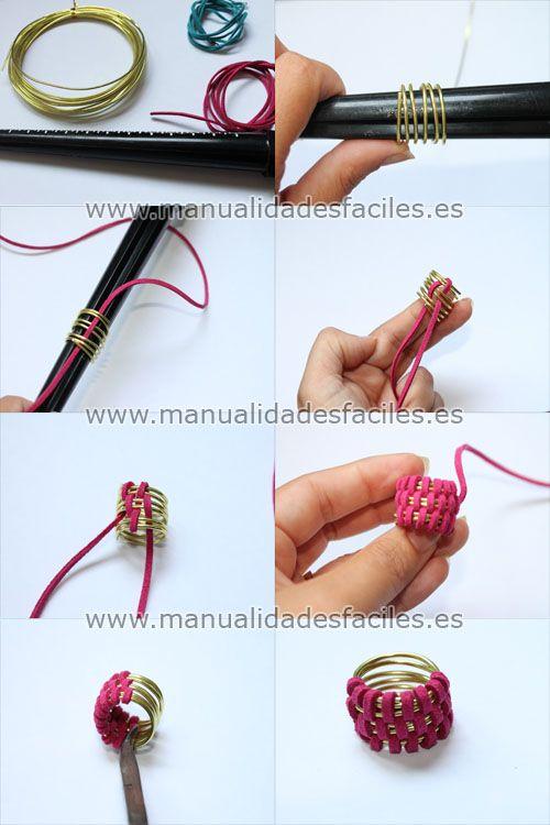 1bdc75b28a42 Como hacer un anillo con alambre y cordón plano | Gráficos | Joyería ...