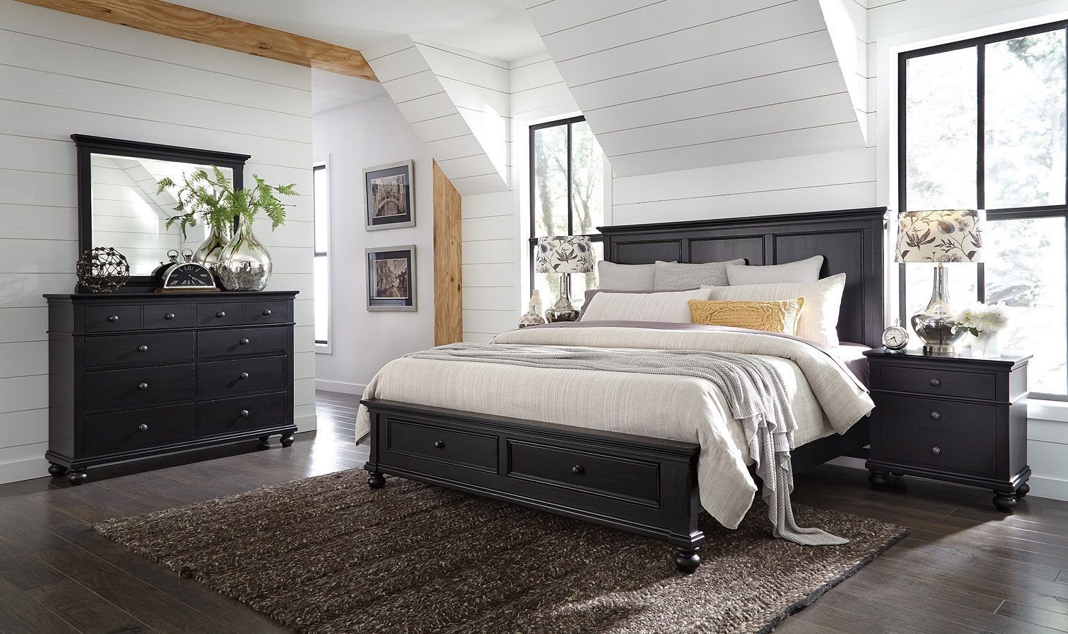 Oxford Panel Storage Bedroom Set Rubbed Black In 2020 Furniture Bedroom Storage King