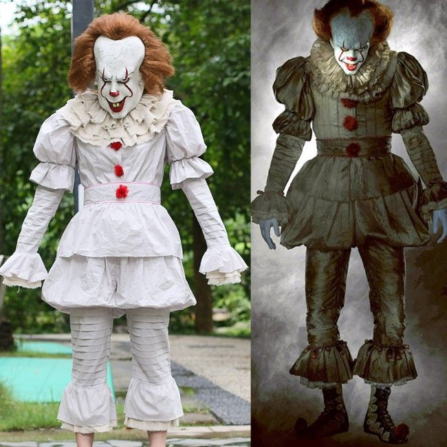 Stephen King It  Movie Pennywise Cosplay Halloween The Clown Costume Outfit 16