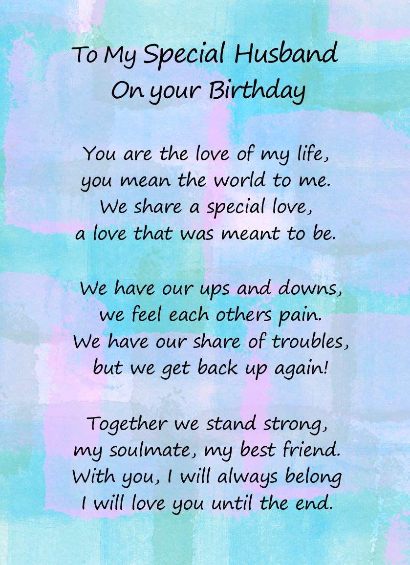 Romantic Birthday Verse Poem Card (Special Husband