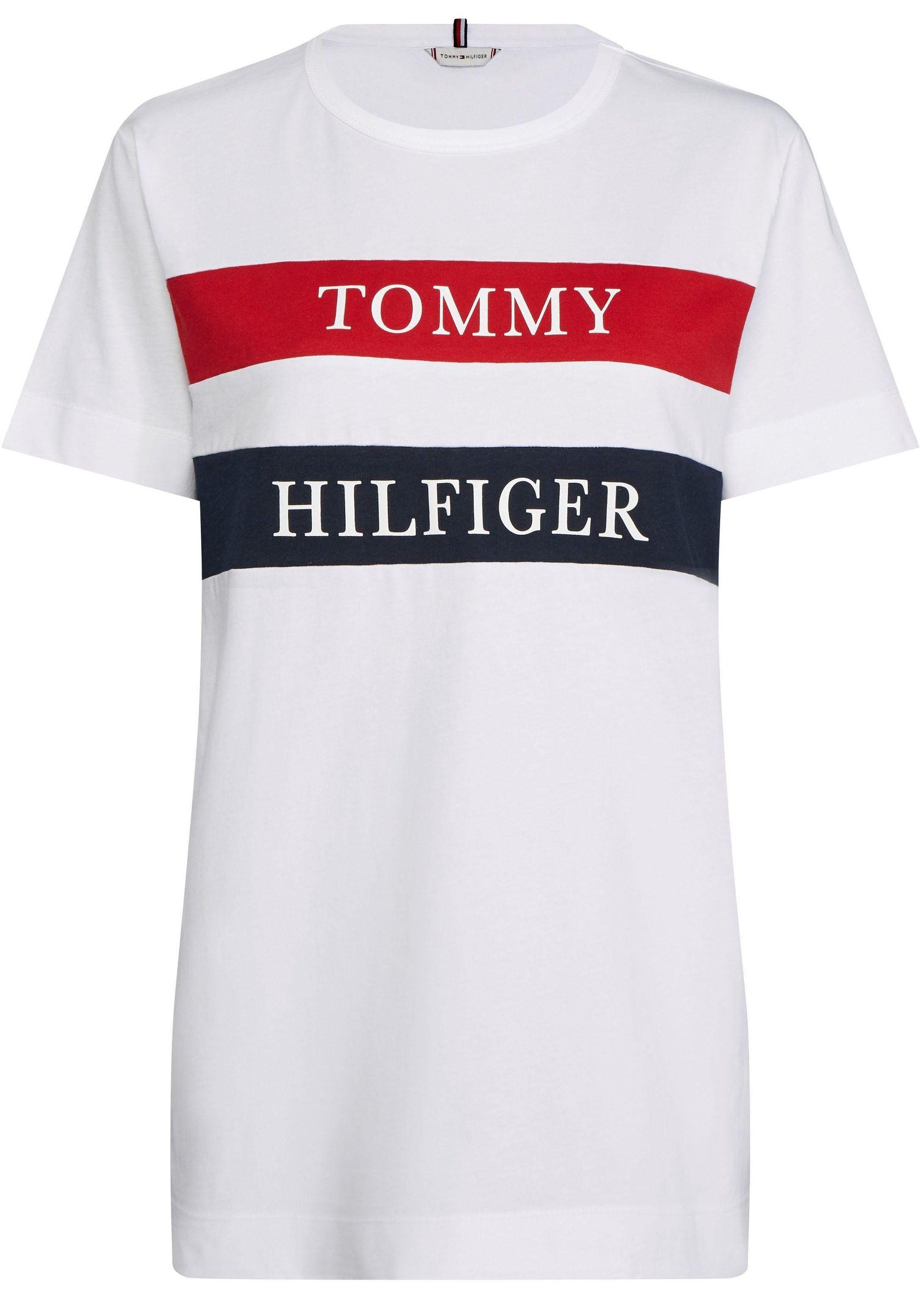 Tommy Hilfiger Damen T-Shirt mit Logo-Print Rot