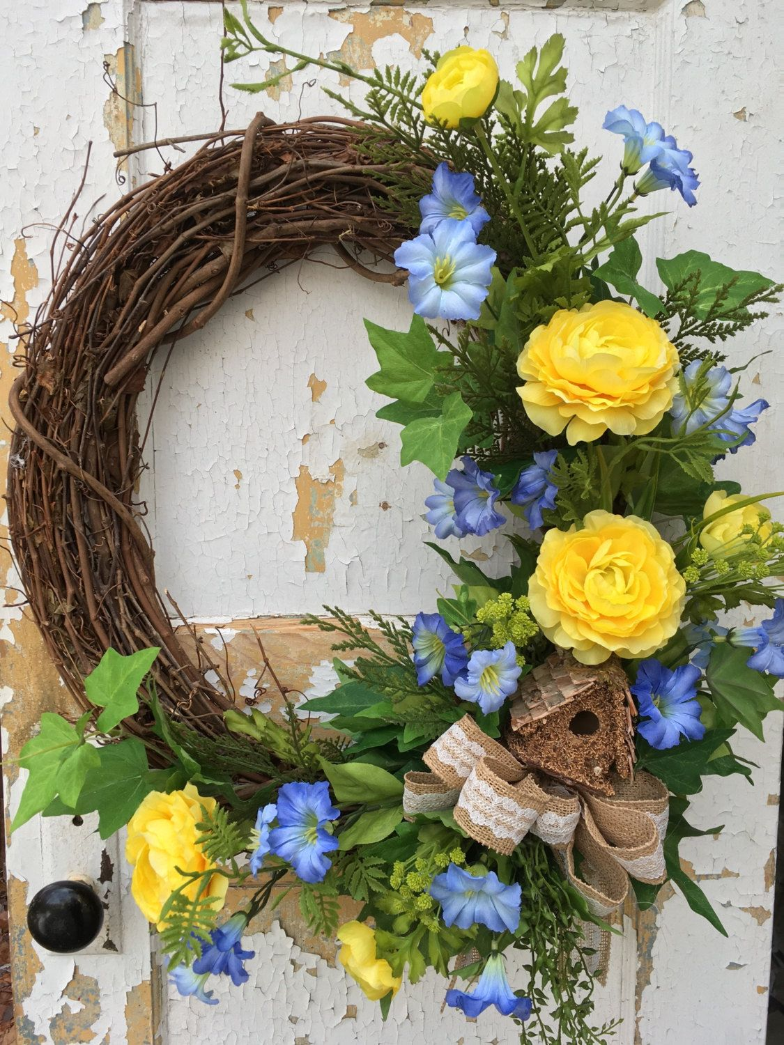 Spring wreath for front door easter wreath birdhouse wreath spring wreath for front door easter wreath birdhouse wreath housewarming gift by flowerpowerohio negle Choice Image