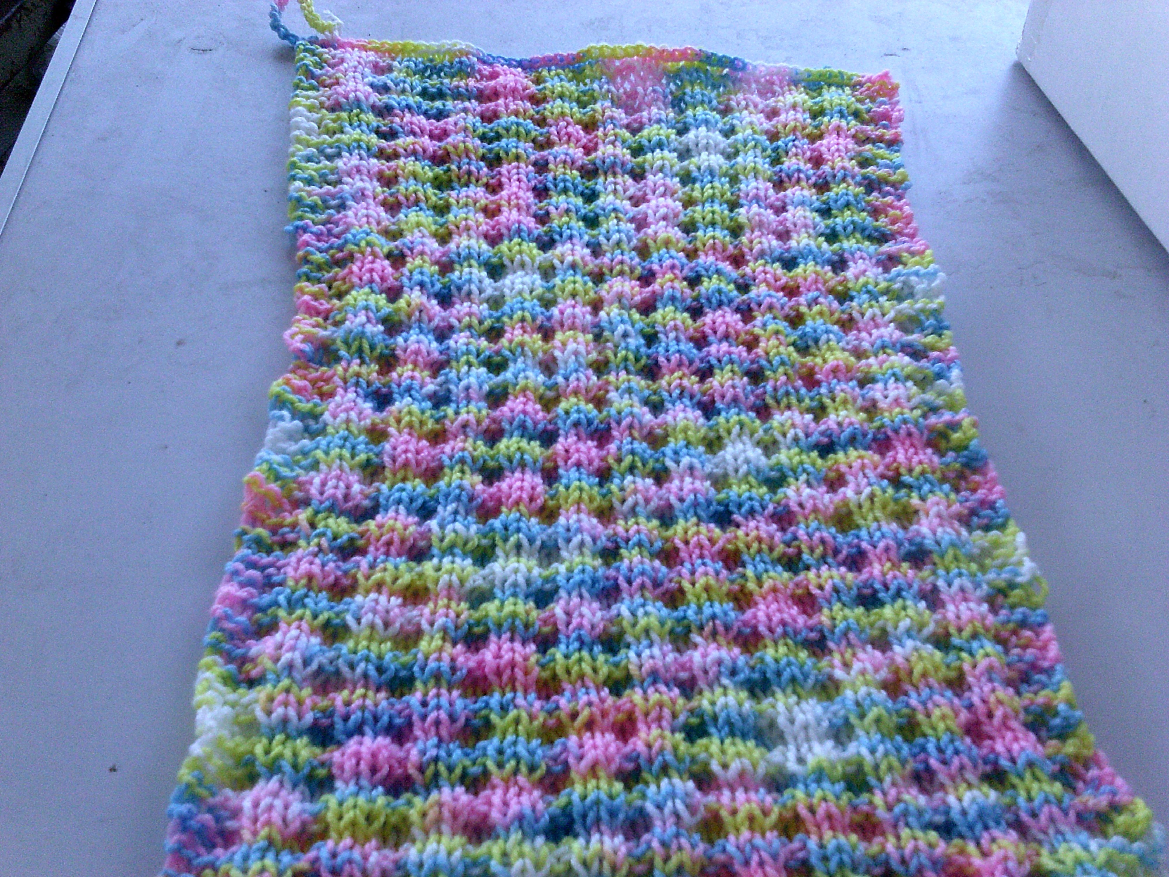 hand knitted basket stitch hand towel, has a loop so it can be hung $7.50 + postage