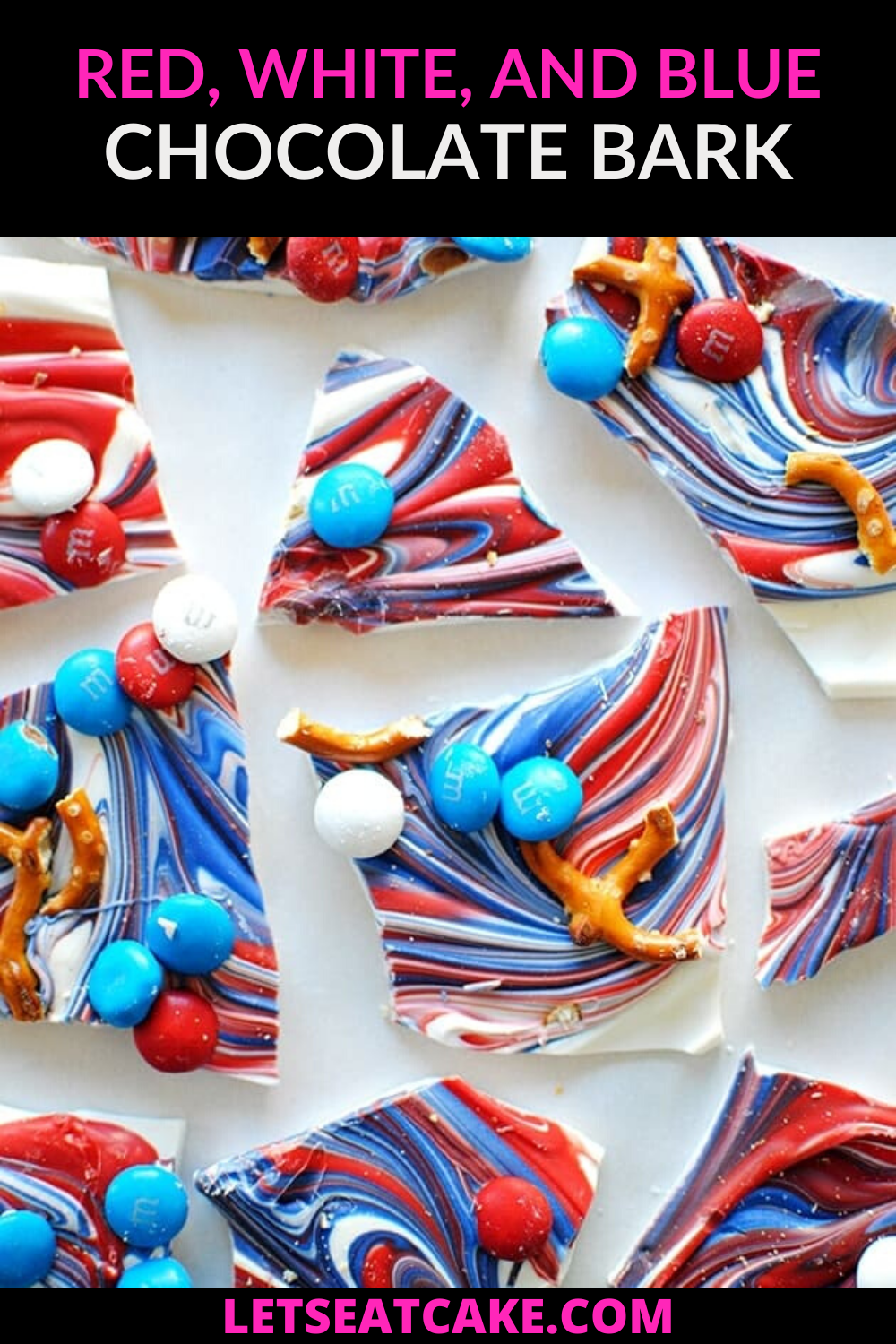Looking for red, white, and blue desserts or 4th of July ideas? This easy candy bark is perfect for a 4th of July party or Memorial Day event! #memorialday #patriotic #patrioticdesserts #redwhiteandblue #redwhiteandbluedesserts #fourthofjulyideas #fourthofjulyfood
