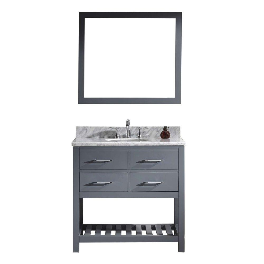Virtu USA Caroline Estate 36 in. W x 36 in. H Vanity with Marble Vanity Top in Carrara White with White Round Basin and Mirror