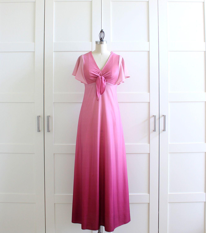 1970s Maxi Dress, Pink Ombre Dress, 70s Aline A Line Bridesmaid ...