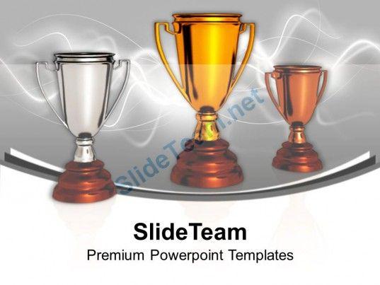 award winner trophies success sports powerpoint templates ppt, Modern powerpoint