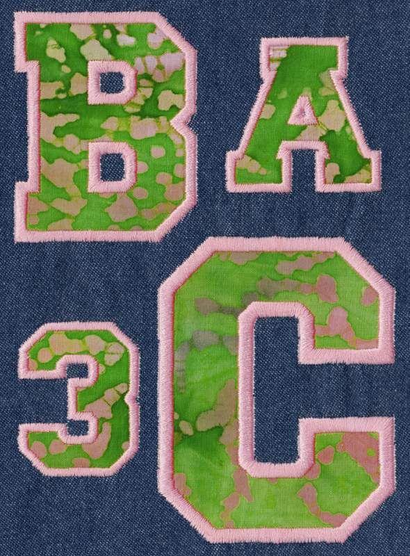"""Varsity APPLIQUE - 2"""", 3"""", 4"""" , 5"""" & 6""""; Upper & Numbers"""