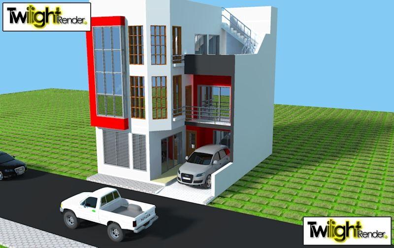 Projecto 3d 10 X 8 Renderizado Com Vista Frontal E Posterior Res Do Chao Com Sala Comum Sala De Jantar Cozinha Quarto Com Varanda Escada De Acesso Quartos