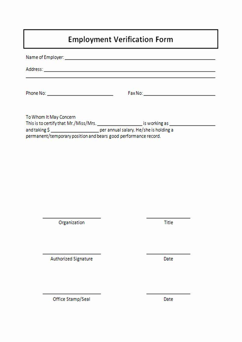 Employment Verification Form Template New Employment Verification Form Template Free Printable Employment Form Doctors Note Template Resume Template Word Free employee verification form template