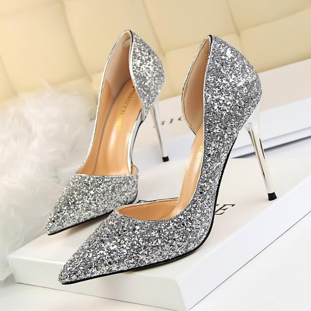 e43ed837a77 Women Pumps Sexy High Heels Bling Stiletto Heels Shoes Women Side ...
