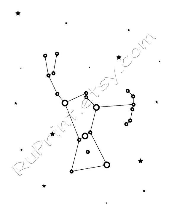 Orion constellation print, Printable wall art, Star