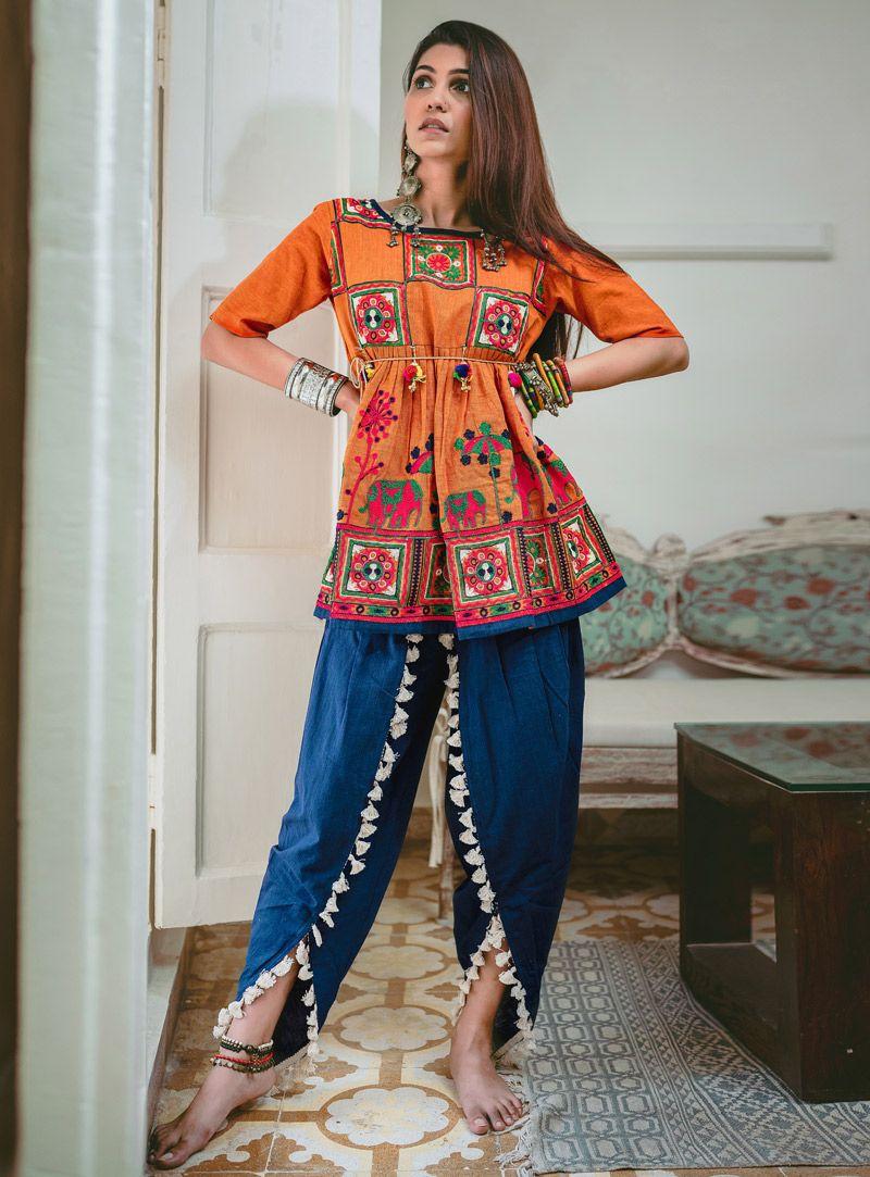 Orange Khadi Navratri Special Kediya with Dhoti Salwar 141020 | Indian fashion salwar, Navratri dress, Fashion