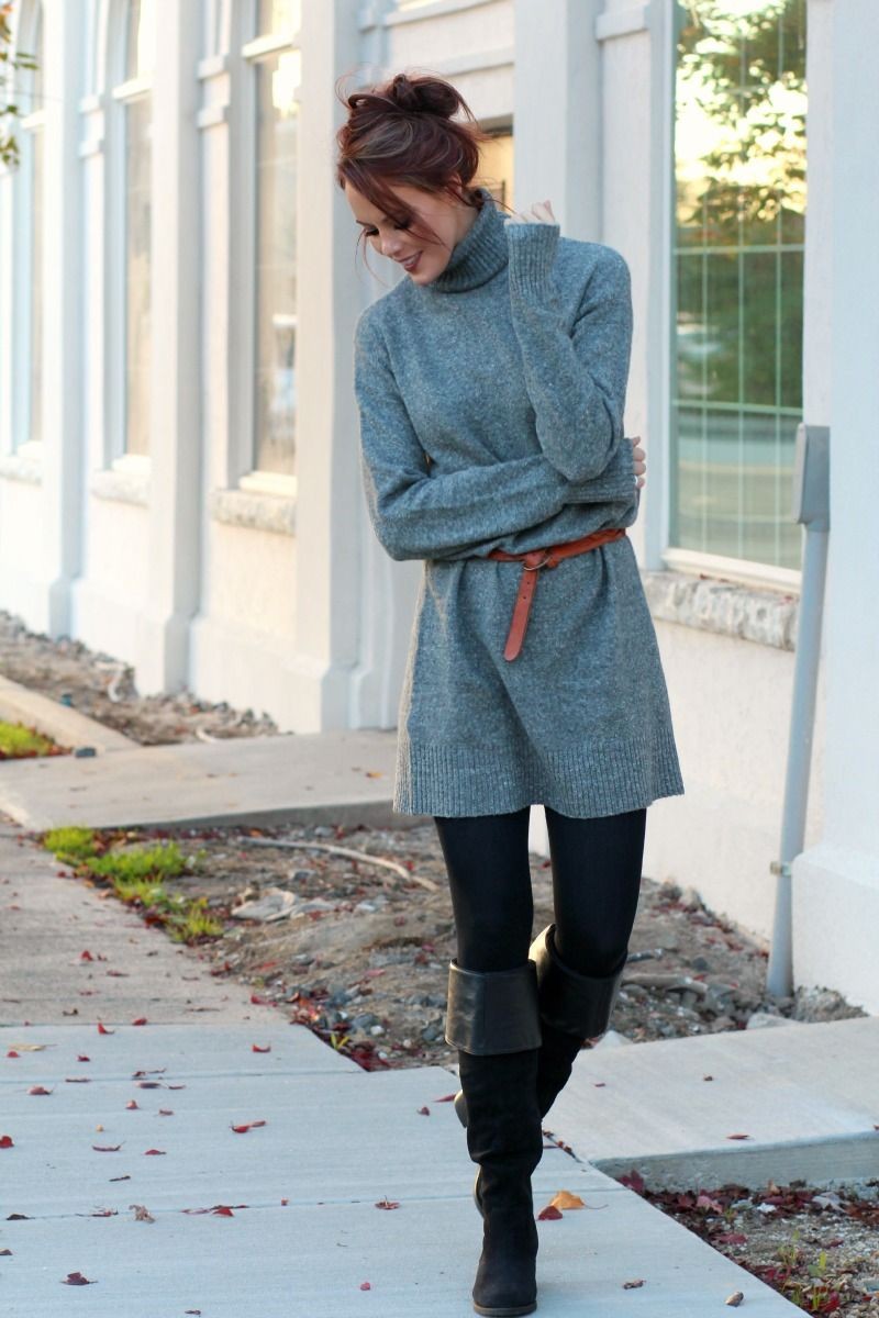 Oversized Sweater Dress with Knee High Boots.   Look fashionable and be  comfortable this fall and winter! 8911d7e5b3c