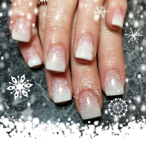 baby boomer pink and white glitter snowflakes nails i. Black Bedroom Furniture Sets. Home Design Ideas