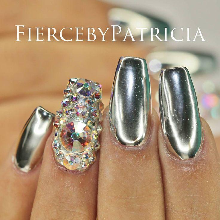 Silver Chrome Ballerina Nails With Iridescent Rhinestones | Nail Art ...