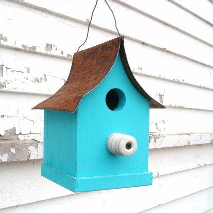 Farm Insulator Perch Birdhouse Recycled Rustic by baconsquarefarm, $25.00