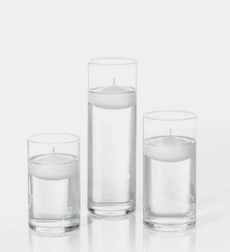 3 Clear Glass Cylinder Vases With 3 3 Quot Floating Candles