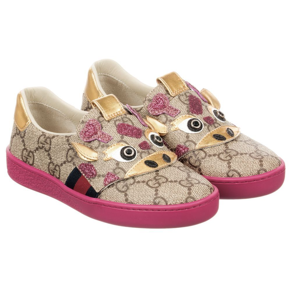 Girls Ace GG Giraffe Shoes for Girl by Gucci. Discover more beautiful  designer Shoes for kids online 920cae086