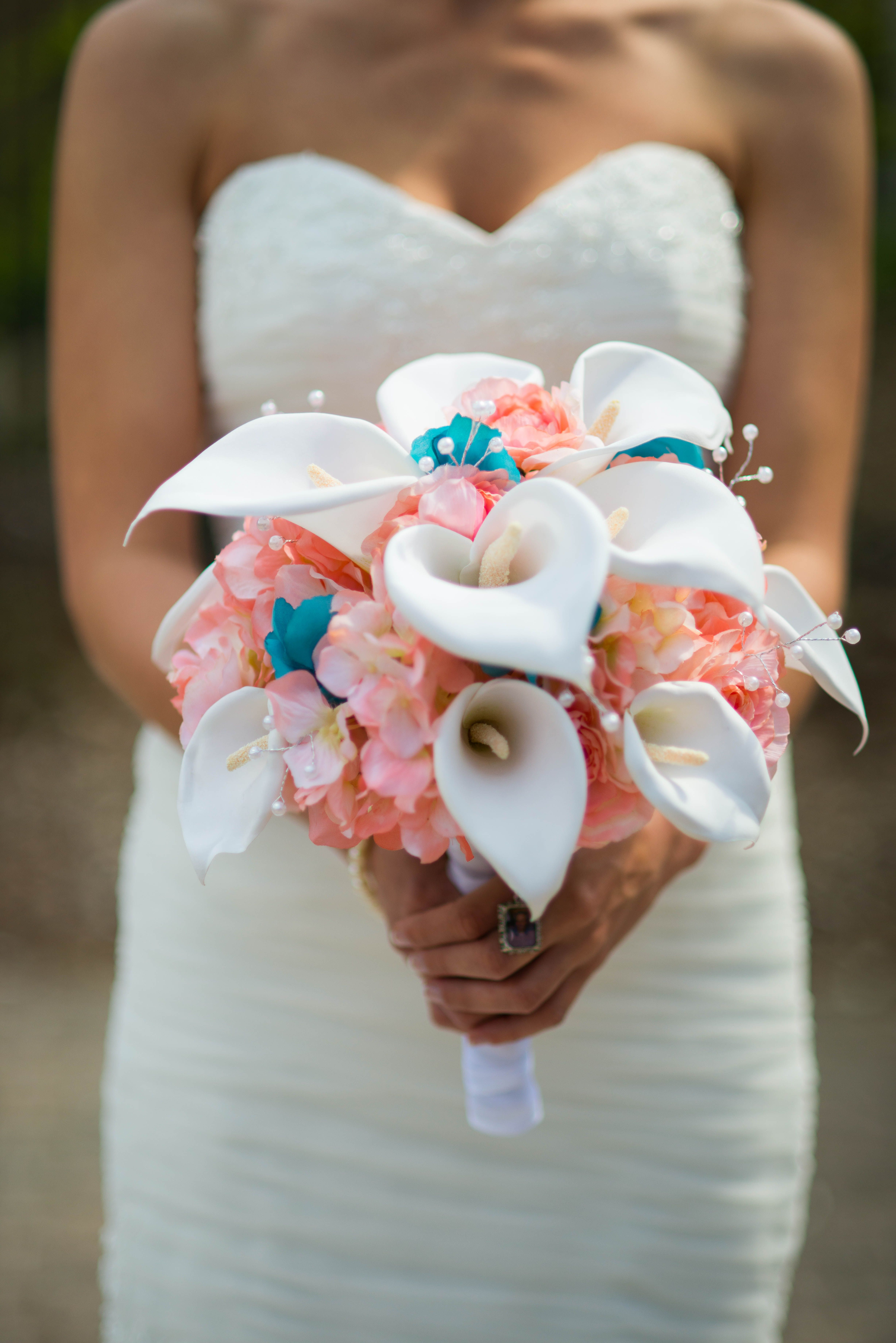 Coral and teal bouquet  calla lily bouquet wedding beach