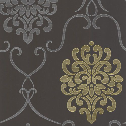 Damask Scroll Textured Wallpaper Dining Room
